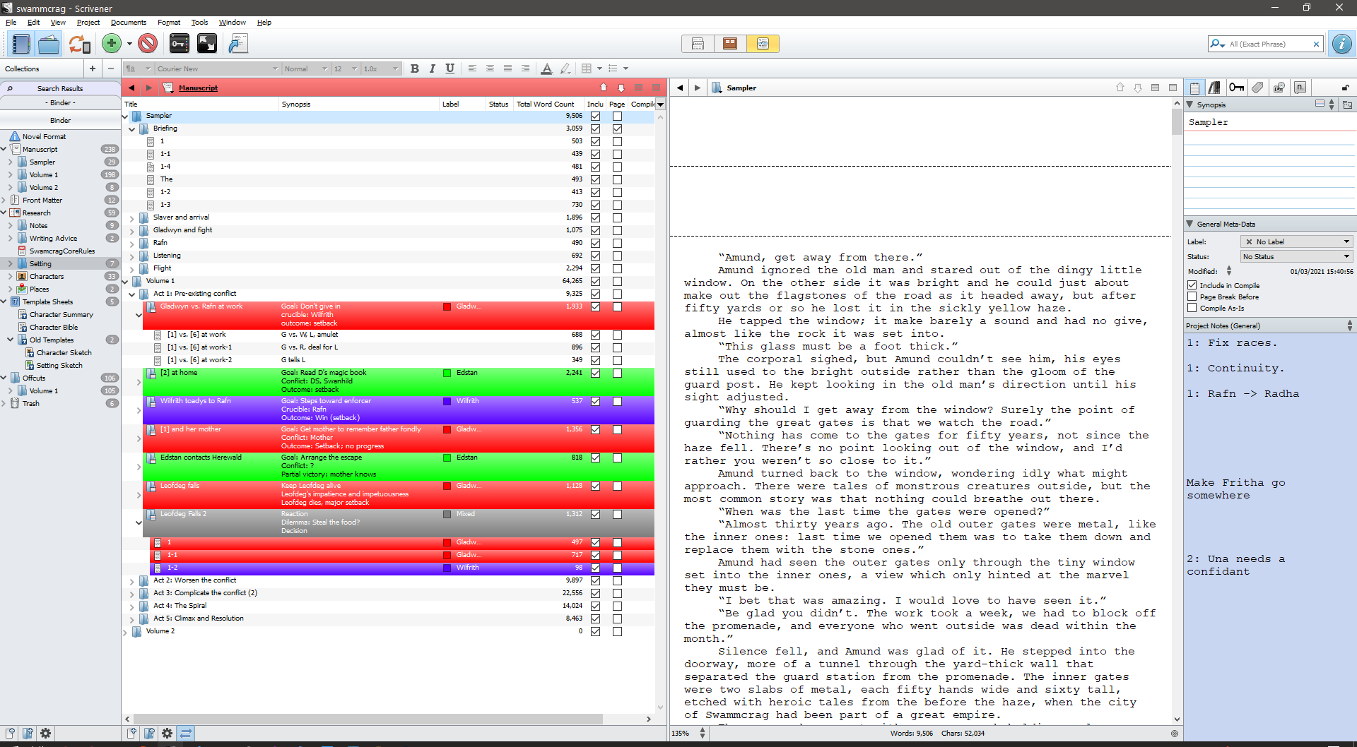 A massive detailed screenshot of Scrivener, with one of my massive and detailed projects open.